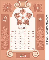Retro windows calendar August