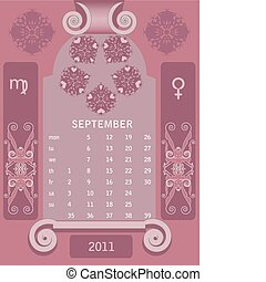 Retro windows calendar September