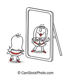 Be yourself Karen - Penelope looks in the mirror. It is a...