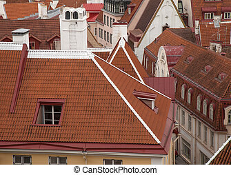 Old Tallin rooftops, red tile and old style roofs from...