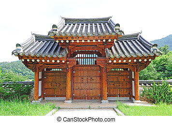 korean tradition gate - beautiful ancient wooden gate in...