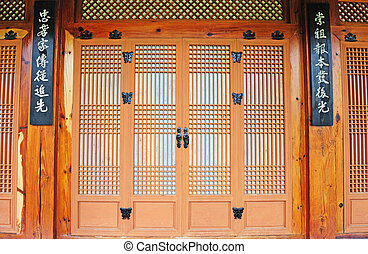 korean traditional paper door - ancient paper and wooden...