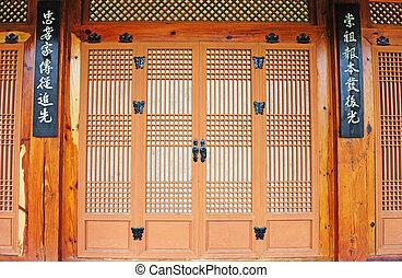 korean traditional paper door - ancient paper and wooden...