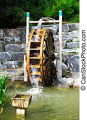 water mill - vintage water mill in asian country
