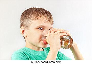 bonito, loiro, criança, bebendo, fresco, limonada