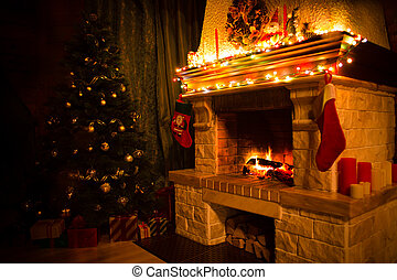christmas interior with xmas tree, presents and fireplace