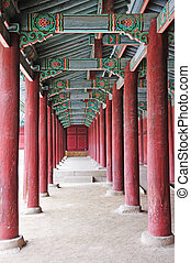 hallway in the palace - ancient korean palace in seoul korea