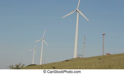 Wind generator on field in Crimea. - Wind generator on the...