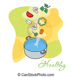 Vegetable soup - Vector illustration of a hot steaming pot...