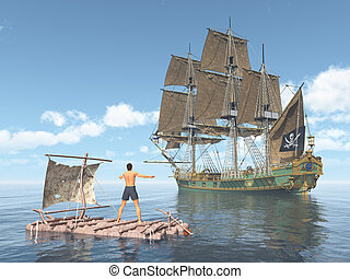 Man on a raft and pirate ship - Computer generated 3D...