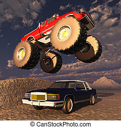 Monster truck - Computer generated 3D illustration with a...
