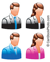 User icons. - Glossy male and female icons.