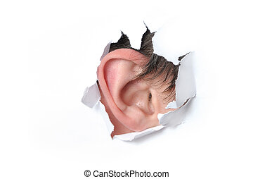 Ear in a hole of paper