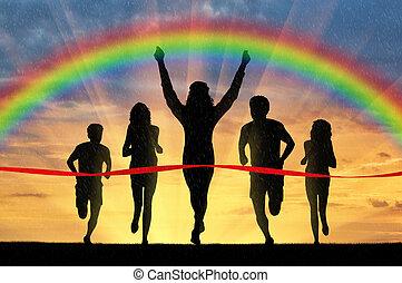 Winning runner crosses the red tape - Runners, rainbow,...