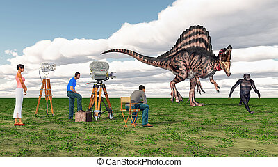 Movie crew, Spinosaurus and Homo Habilis - Computer...