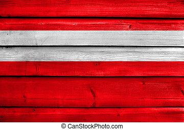 Flag of Vaduz, Lichtenstein, painted on old wood plank...