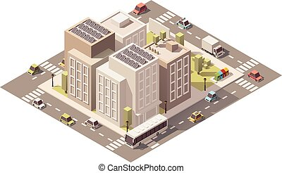 Vector isometric low poly town street with buildings -...