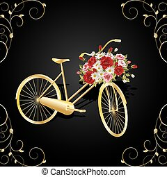 Gold bicycle with a basket full of flowers