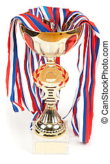 Golden cup, medals with tape on white background