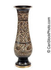 Brass vase with pattern on white background