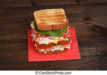 top view chicken club sandwich