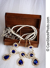 top view vintage necklaces with jewelry box