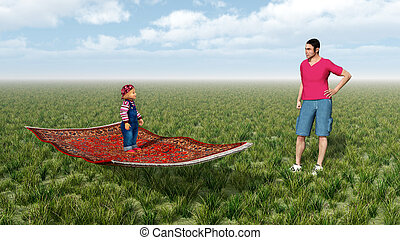 Child on flying carpet and man