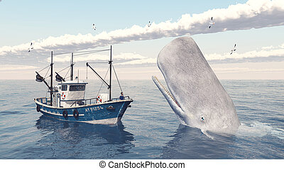 Fishing trawler and sperm whale - Computer generated 3D...