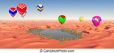 Hot air balloons over a desert oasis - Computer generated 3D...