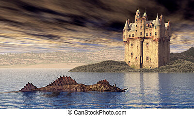 Loch Ness Monster and Scottish Castle - Computer generated...