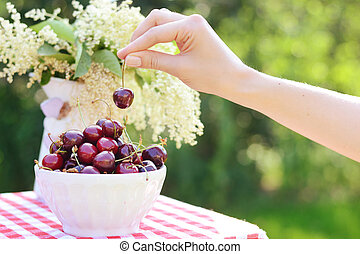 Image of a bright deep bowl full of sweet cherries