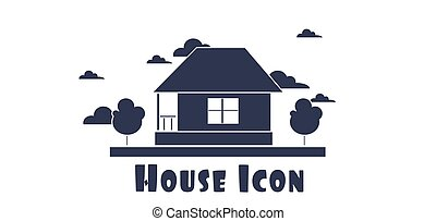 Vector flat style one floor house with trees