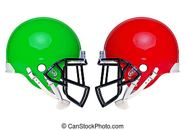 norteamericano, fútbol, cascos, aislado
