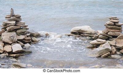 Sea surf on rocks nature