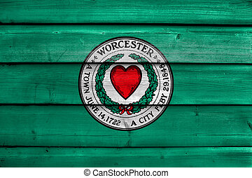 Flag of Worcester, Massachusetts, USA, painted on old wood plank background