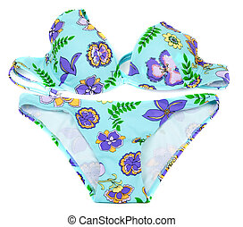 Feminine blue swimsuit with pattern in form violet flowers...