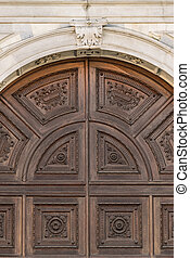 Detail of the portal in Gothic-Renaissance style. - Detail...