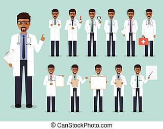 African doctor, medical and hospital staff characters -...