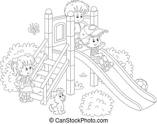 Children's slide in a park - Black and white vector...
