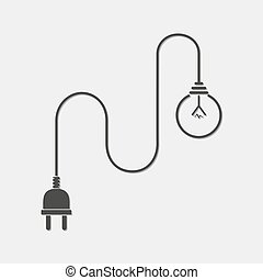 Light bulb and wire plug - vector illustration. Concept...
