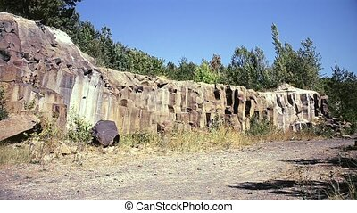 Basalt cliffs in summer Shot in Ukraine near village...