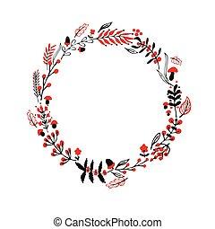 Autumn round frame - Autumnal round frame Wreath of autumn...