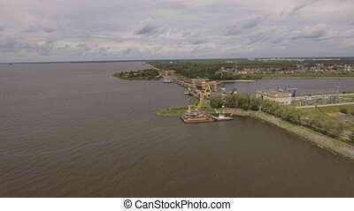 Aerial view:River port with cranes and ships. - Aerial:port...