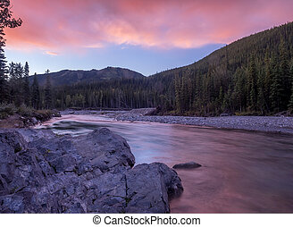 Elbow River, Kananaskis - Sunrise view of elbow river and...