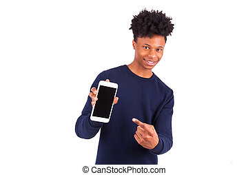 Young African American man pointing his smartphone screen -...