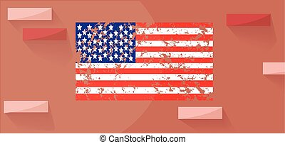 Vector Patriot Day, with american flag and bricks on the...