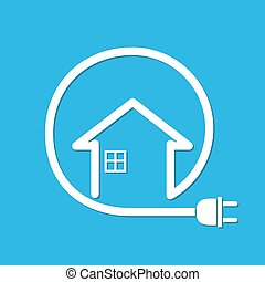 House with wire plug - vector illustration - Silhouette of...