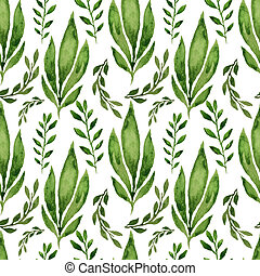 Seamless herbal pattern with leaves. Watercolor...