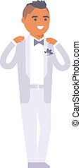 Wedding groom man vector isolated - Happy groom boy on...