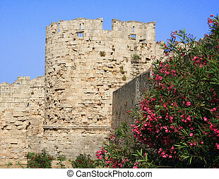 Greece. Rhodes island. Tower in st John knights castle -...